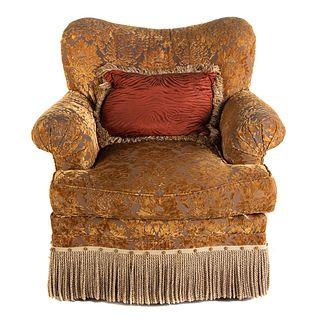 Hickory White Overstuffed Upholstered Swivel Chair