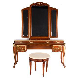 Louis XV Style Mahogany Vanity & Stool