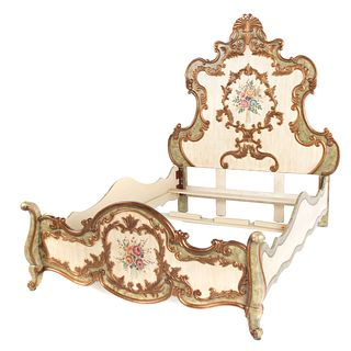 Louis XV Style Queen-Size Painted Giltwood Bed