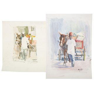Nathaniel K. Gibbs. Two Arabber Watercolors