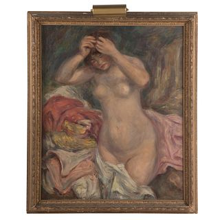 "After Renoir.""Bather Arranging Her Hair,"" oil"