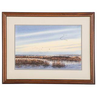 Ned Ewell. Ducks Flying Over Marsh, watercolor