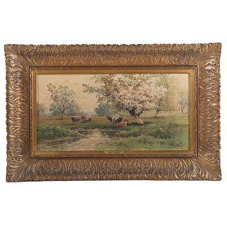 """Carl Weber. """"A Pennsylvania Spring Day,"""" watercolor"""