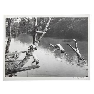 """A. Aubrey Bodine. """"Boys Swimming in the Patapsco"""""""