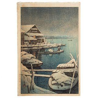 "Kawase Hasui. ""Snow at Mukojima,"" woodblock print"