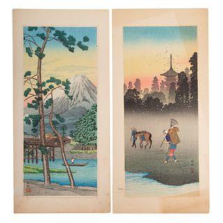 Hiroaki Takahashi. Two Color Woodblock Prints