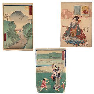 Hiroshige/Toyokuni III. Three Woodblock Prints