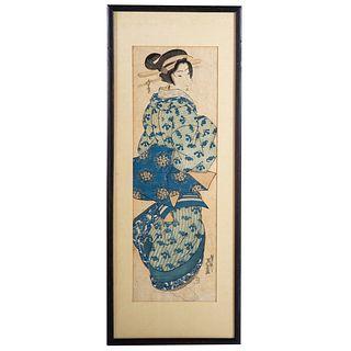 Keisai Eisen. Standing Geisha, woodblock print
