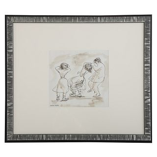 Aaron Sopher. Dancers, pen and ink with wash