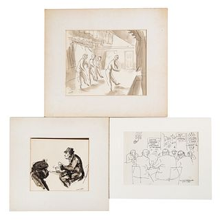 Aaron Sopher. Three Assorted Pen and Ink Drawings