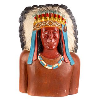 Carved/Painted Wood Native American Bust