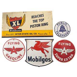 Four Enameled Gasoline Signs & Phone Sign