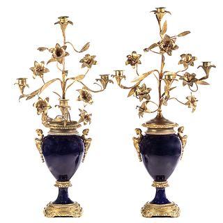 Pair of Sevres Bleu De Roi Porcelain Urn Candelabras