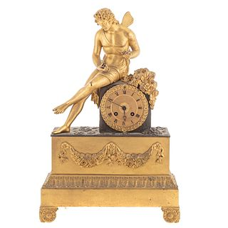 French Empire Gilt & Patinated Bronze Mantel Clock