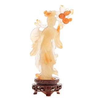 Chinese Carved Chalcedony Quan yin
