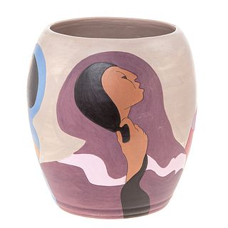R. C. Gorman, The Joke, Art Pottery Vase