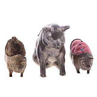 Two Bronze & One Pewter Pig Pincushion