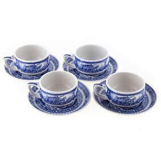 Four Lamberton B & O China Tea Cups/Saucers