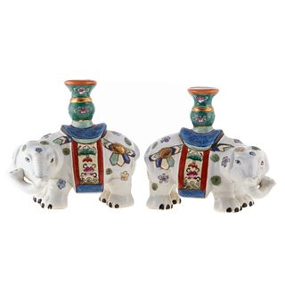Pair of Chinese Export Elephant Joss Holders