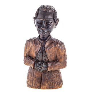 American Carved Wood Half Length Portrait Bust