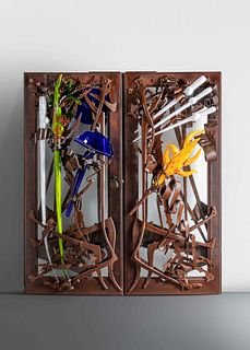 Albert Paley  (b. 1944) Important Entrance Doors, 2004glass elements executed by Martin Blank