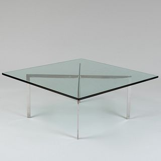 Ludwig Mies van der Rohe Chrome and Glass 'Barcelona' Low Table