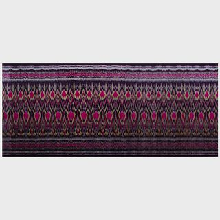 Ikat Textile Mounted on Linen