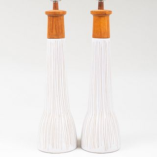 Pair of Martz Wood Mounted Glazed Pottery Ceramic Table Lamps