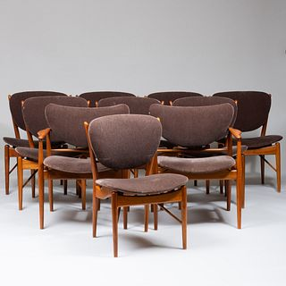 Set of Ten Finn Juhl Style Walnut Dining Chairs Model '#402', of Recent Manufacture