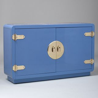 Mastercraft Style Console Cabinet in Soft Blue Lacquer and Brass
