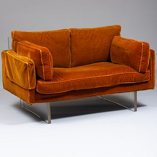 Vladimir Kagan Mohair Upholstered and Lucite Two Seat Sofa