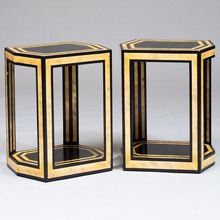 Pair of Ebonized and Faux Bone Painted Side Tables
