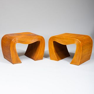 Pair of Modern Rattan Covered End Tables
