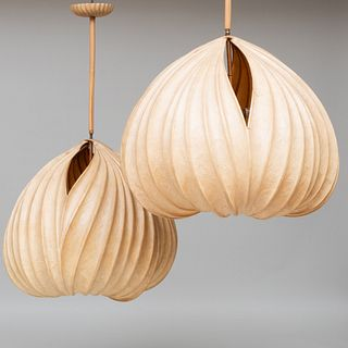 Pair of Large Stephen White Laminated Paper and Wood Two-Light 'Seed' Light Sculptures