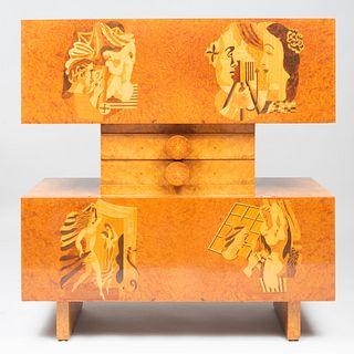 Andrew Szoeke Burl Elm Marquetry Cabinet