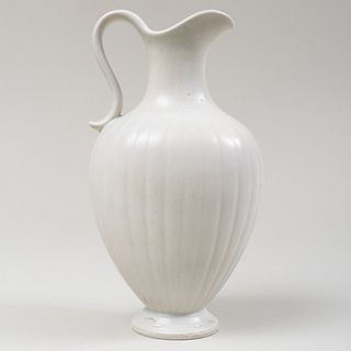 Gunnar Nyland White Glazed Earthenware Pitcher for Rörstrand
