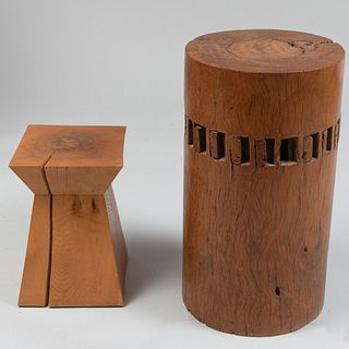 Two Modern Wood Sculptural Tables
