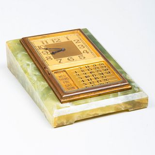 Cartier Brass-Mounted and Hardstone Desk Clock and Calendar