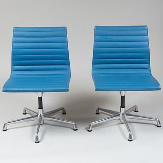 Pair of Eames Leather and Metal Office Chairs for Herman Miller