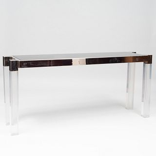 Charles Hollis Jones Lucite and Polished Nickel 'Box Line' Console