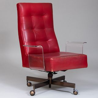 Vladimir Kagan Lucite and Red Leather Upholstered Desk Chair