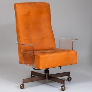 Vladimir Kagan Lucite Orange Suede Upholstered Desk Chair