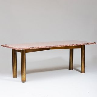 Vladimir Kagan Granite and Brass Dining Table