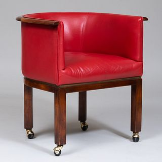 Vladimir Kagan Mahogany and Red Leather Upholstered Tub Chair
