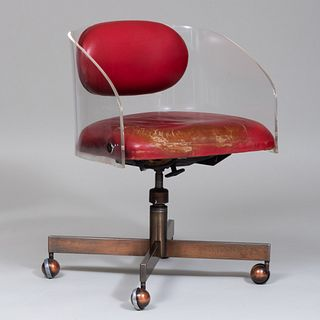 Vladimir Kagan Red Leather Upholstered and Lucite Desk Chair