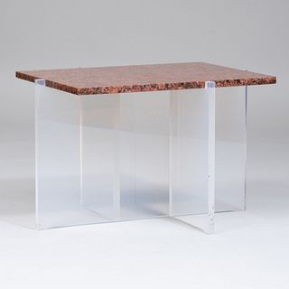 Vladimir Kagan Granite and Plexiglass Marble Top Side Table