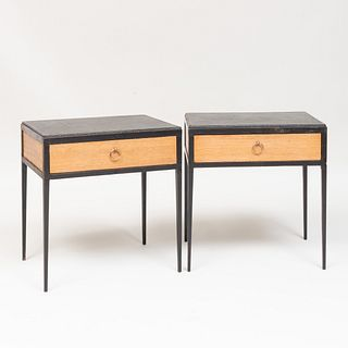 Pair of Jean-Michel Frank Style Metal, Leather and Oak Side Tables