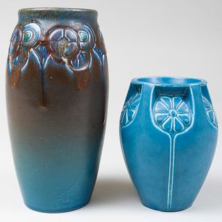 Two Rookwood Pottery Blue Glazed Vases Molded with Stylized Flowers