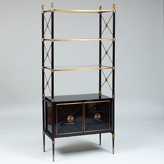 Jonathan Adler Brass-Mounted Black Lacquer and Glass 'Rider' Cabinet Étagère