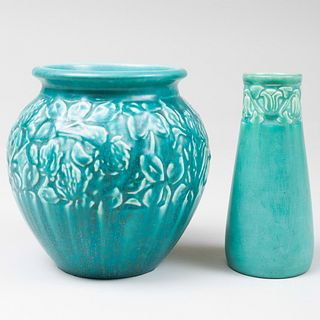 Two Rookwood Pottery Turquoise Glazed Vases Molded with Stylized Flowers